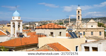 The skyline of Chania's old town in Crete - stock photo