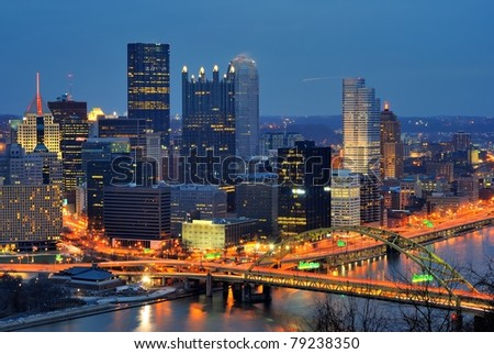 The skyline of Downtown Pittsburgh, Pennsylvania at twilight. - stock photo
