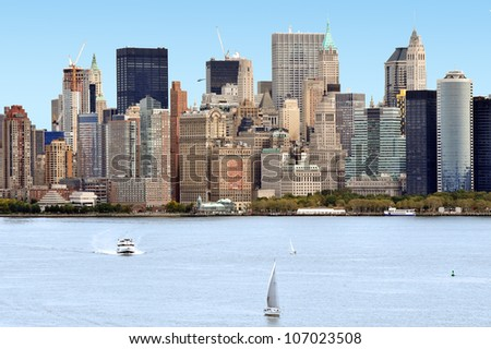 The skyline of Manhattan New York City from liberty Island,NYC USA.