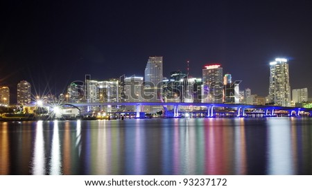 The Skyline of Miami at NIght