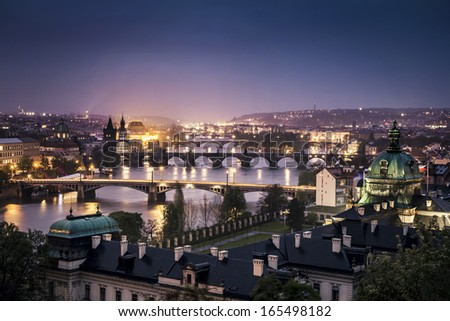 The skyline of Prague at night, Czech Republic - stock photo