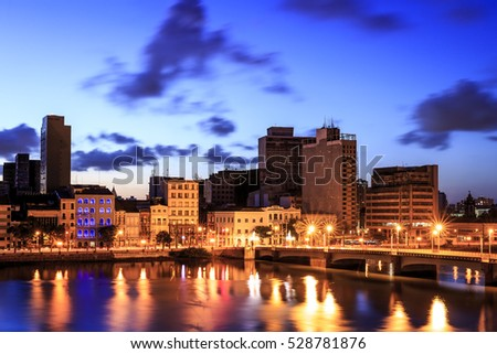 The skyline of Recife in Pernambuco, Brazil at sunset.