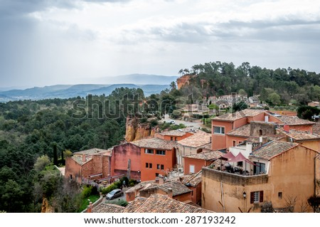 The skyline of Roussillon, France. - stock photo