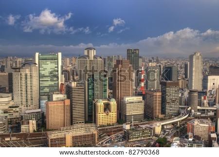 The skyline of the city of Osaka, Japan. - stock photo