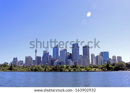 The skyscrapers of Sydney Australia business district background. - stock photo