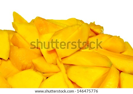 The sliced mango on a white background - stock photo