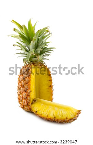 the sliced pineapple isolated on white background