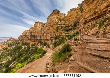 The slope of the canyon trail, SOUTH KAIBAB TRAIL, South RimSOUTH KAIBAB TRAIL, South Rim - stock photo