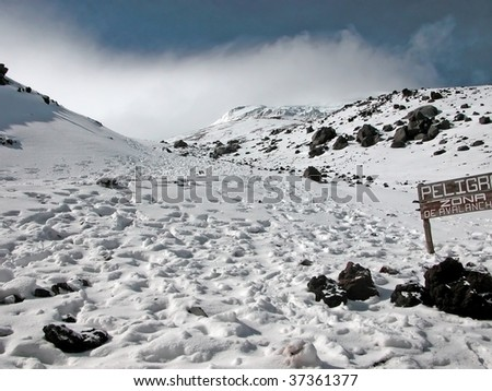 The slopes of Cotopaxi volcano in Ecuador - one of the highest active volcanoes on Earth. - stock photo