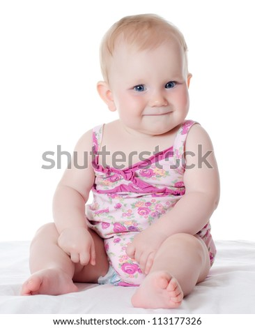 The small baby isolated on white background - stock photo
