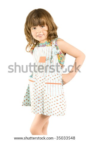 The small beautiful girl  hold in hands solar-glasses, smiles, on a white backgroundn... isolated
