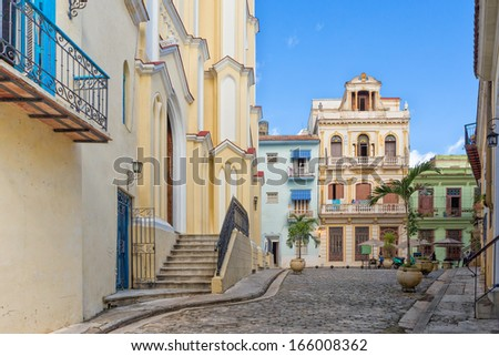 The small El Angel square in Old Havana,a very pintoresque and well known tourist landmark - stock photo