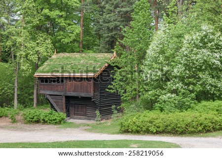 The Small Norwegian house in Norway mountain. - stock photo