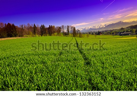 The Small Village High Up in the Swiss Alps, Sunrise - stock photo