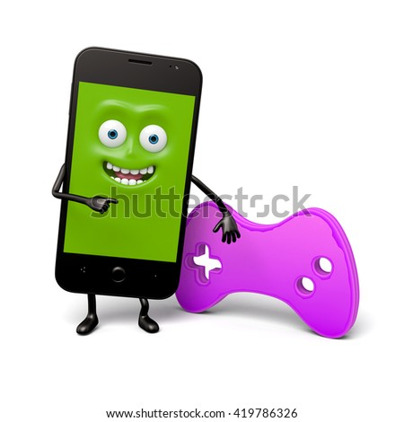 The smartphone has a gamepad - stock photo