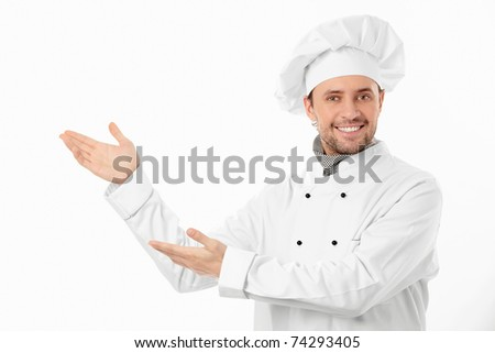 The smiling cook on a white background - stock photo