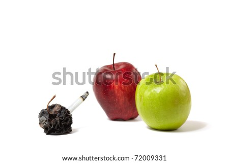 The smoker having cancer against two healthy people - stock photo