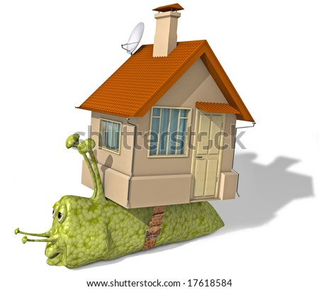 The snail has changed the inconvenient house on more comfortable apartments.