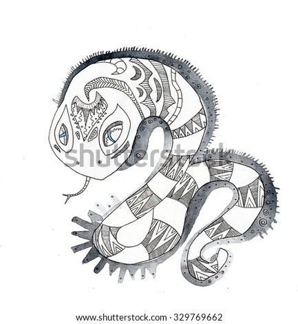 the snake of the china horoscope of the year hand drawing outline ethnic style isolated on the white background - stock photo