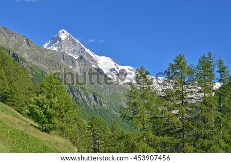 The snow covered summit of the Dent Blanche in the southern swiss alps, viewed from the Val d'Herens - stock photo