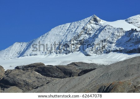 The snow covered summit of the Monte Leone on the swiss italian border