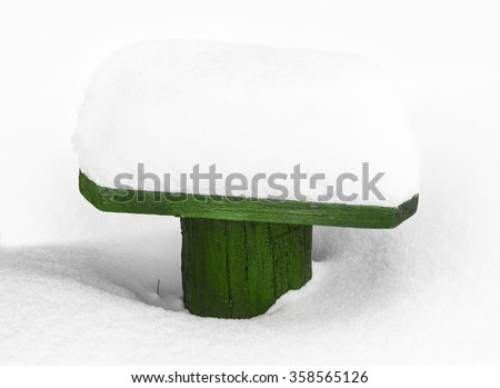 the snow in the backyard - stock photo
