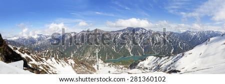 The snow mountains panorama view on Tateyama Kurobe Alpine Route, Japanese Alps in Japan - stock photo