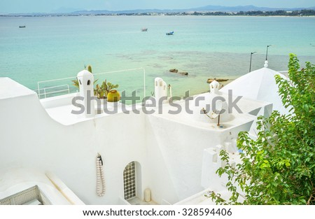 The snow white mosque with the seascape on the background, Hammamet, Tunisia.