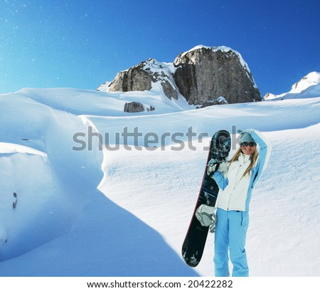 The snowboarder - stock photo