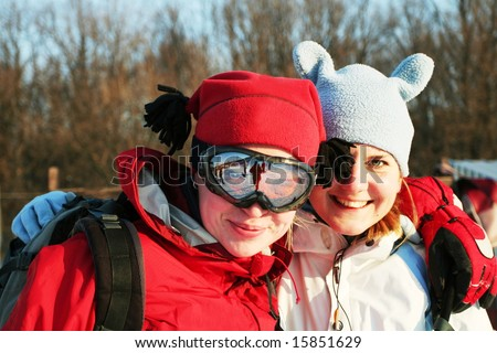 The snowboarders - stock photo