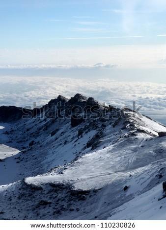 The Snowy Peak of Mt Kilimanjaro in Tanzania, Africa - stock photo
