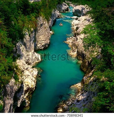 The Soca river, Slovenia - stock photo