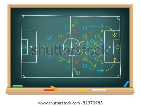 The soccer tactic strategy on the school blackboard