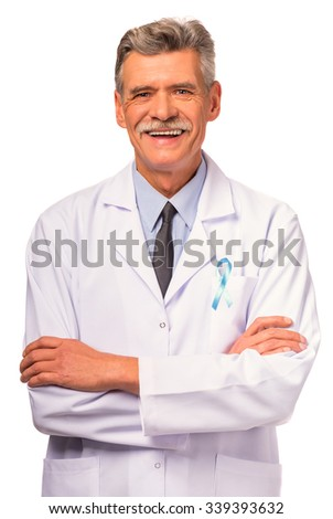 The social problem of male diseases. Portrait of a doctor with a blue ribbon. Isolated on a white background