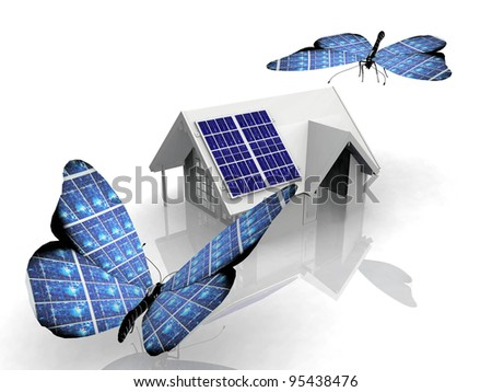 the solar cell butterfly - stock photo