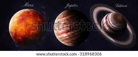 The solar system planets shot from space showing all they beauty. Extremely detailed image, including elements furnished by NASA. Other orientations and planets available. - stock photo