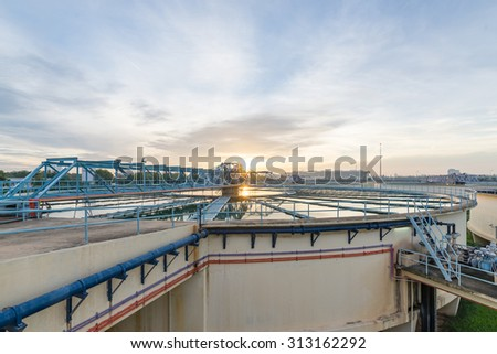 The Solid Contact Clarifier Tank in Water Treatment Plant at morning - stock photo