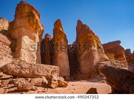 The Solomons Pillars geological attraction in Timna Park near to Eilat, Israel.
