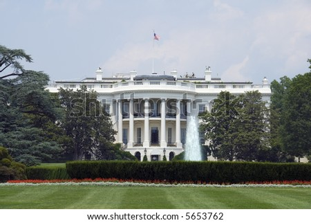 The south face of the White House in Washington on a hot and hazy summer afternoon. - stock photo
