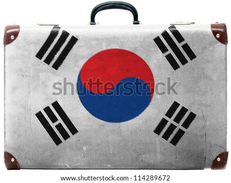 The South Korea flag painted on  old grungy travel suitcase or trunk - stock photo