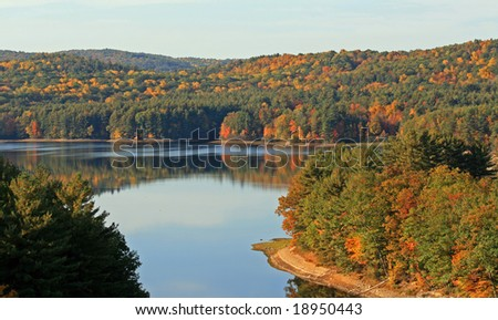 The south side of the Saville dam in Barkhamstead Connecticut. - stock photo
