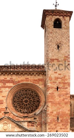 The South tower of Siguenza Cathedral showing gunshot damage around the windows from the Spanish Civil War in 1936. - stock photo