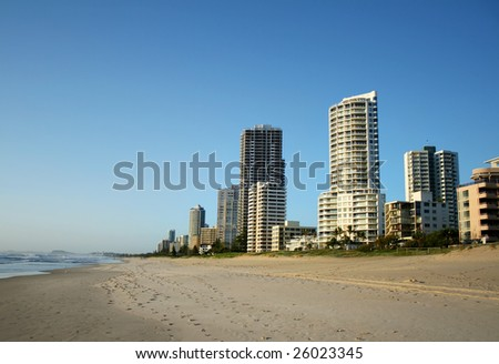 The Southern end of the Surfers Paradise skyline in Australia seen from the beach. - stock photo