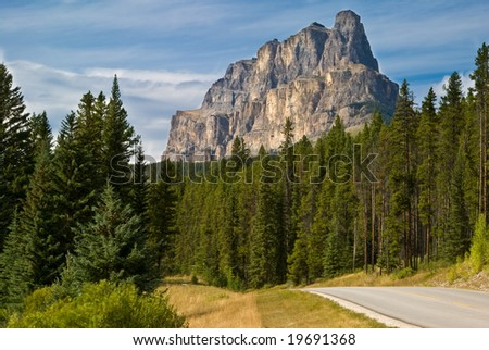 The southern face of Castle Mountain in Banff National Park - stock photo
