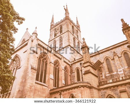 The Southwark Cathedral church, South Bank, London, UK vintage