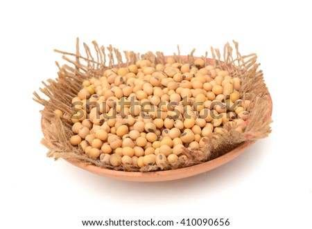the soy beans on white background - stock photo