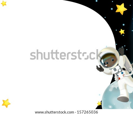The space journey - happy and funny mood - illustration for the children - stock photo