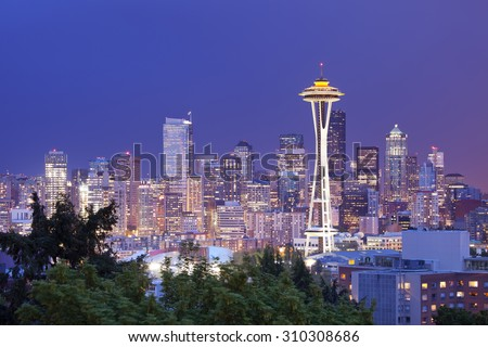 The Space Needle and the skyline of Seattle in Washington, USA. Photographed at night. - stock photo