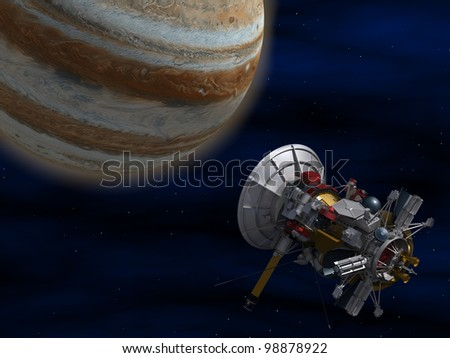 The space satellite. 3D image. - stock photo