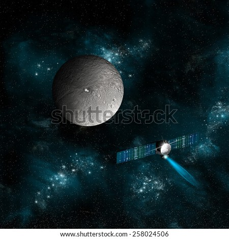 The spacecraft Dawn as it approaches an encounter with Ceres. The satellite will investigate the two bright spots on the surface of the dwarf planet. Elements of this image furnished by NASA. - stock photo